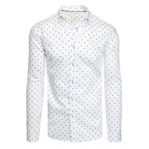 Slim fit pánska biela košeľa s dlhým rukávom a vzorom