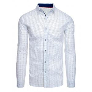 Vzorovaná biela pánska košeľa s dlhým rukávom