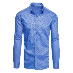 Modrá vzorovaná pánska košeľa slim fit