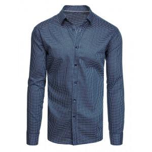 Pánska bavlnená námornícka modrá košeľa s dlhými rukávmi