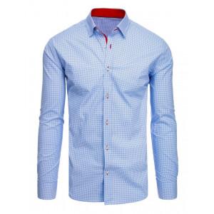 Svetlomodrá pánska košeľa s dlhým rukávom a vzorom