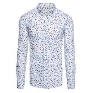 Originálna vzorovaná biela pánska košeľa s dlhými rukávmi