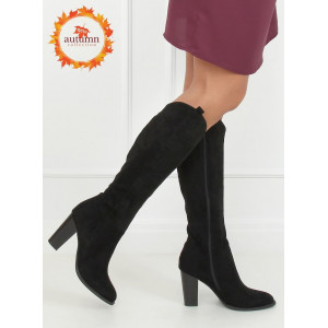 Vysoké pohodlné dámske čižmy čiernej farby