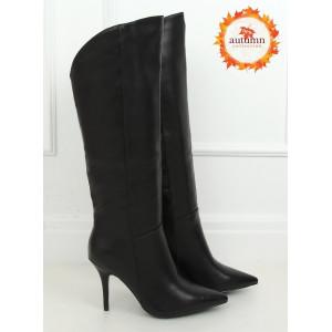 Moderné dámske čierne čižmy na vysokom podpätku