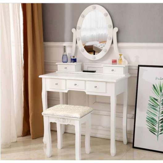 Biely retro toaletný stolík s LED osvetlením a taburetkou