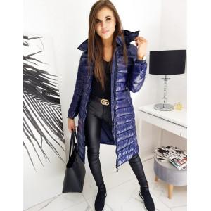Dámska štýlová prešívaná bunda tmavomodrej farby