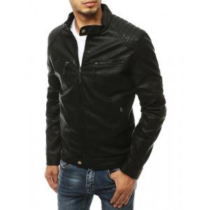 Pánska kožená bunda v čiernej farbe s cvokmi