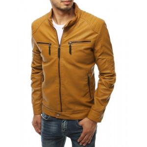 Pánska kožená bunda ťavej farby s cvokmi