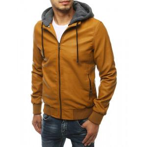 Hnedá pánska kožená bunda s kapucňou