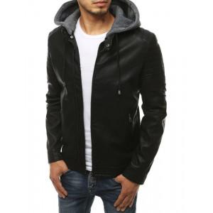 Pánska kožená bunda s kapucňou čiernej farby