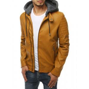 Pánska kožená bunda s kapucňou hnedej farby
