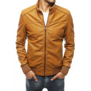 Jednoduchá pánska kožená bunda hnedá