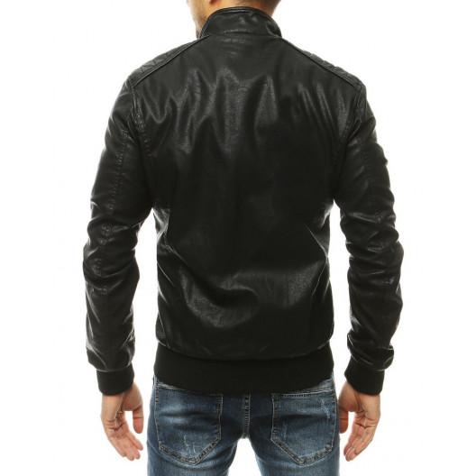 Jednoduchá pánska kožená bunda čierna