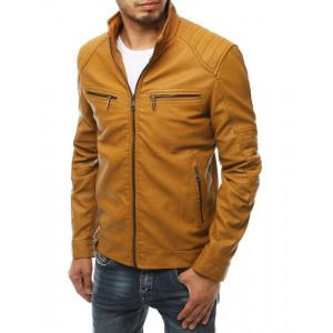 Pánska kožená bunda so stojačikom v ťavej farbe