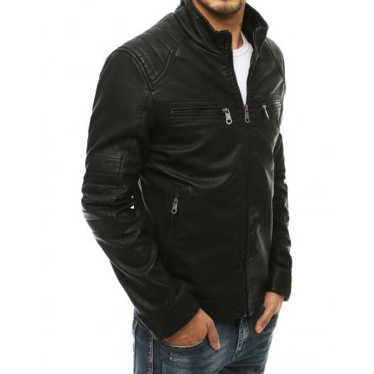 Pánska kožená bunda so stojačikom čiernej farby