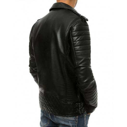 Pánska kožená bunda so štýlovým prešívaním