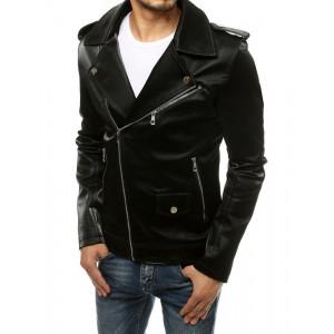 Pánska kožená bunda so striebornými zipsami