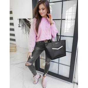 Krásny ružový dámsky pletený sveter