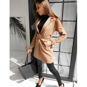 Hnedý dámsky kabát s opaskom