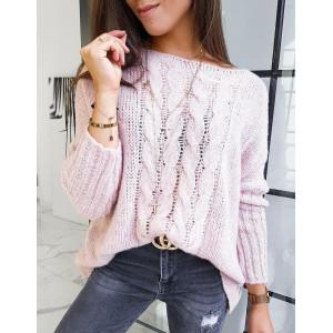 Ružový dámsky pletený oversize sveter cez hlavu