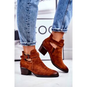 Trendy dámske camel kotníkové topánky s módnou prackou