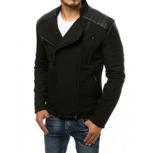 Štýlová pánska čierna bunda s asymetrickým zipsom