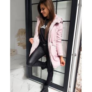 Krásny luxusný dámsky kabát v rúžovej farbe