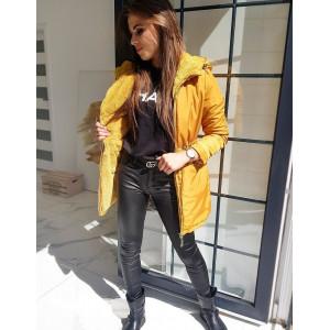 Luxusný pohodlńy kabát pre dámy v karamelovej farbe