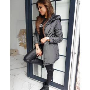 Luxusný pohodlńy kabát pre dámy v svetlo čiernej farbe