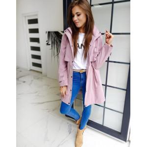Krásny pohodlný dámsky rúžový  kabát