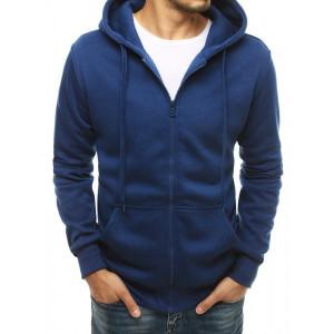 Klasická pánska modrá bunda s kapucňou