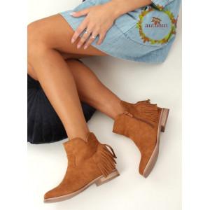 Štýlové dámske hnedé kotníkové topánky v boho štýle