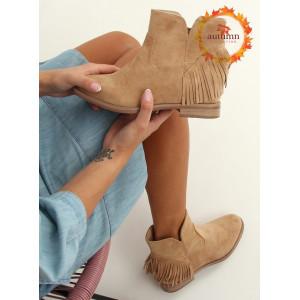 Moderné dámske béžové kotníkové topánky v boho štýle