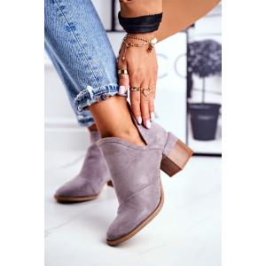 Štýlové dámske semišové kotníkové topánky v sivej farbe