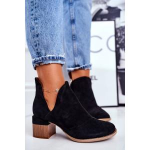 Originálne dámske čierne kotníkové topánky na opätku
