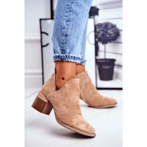 Béžové dámske semišové kotníkové topánky na opätku