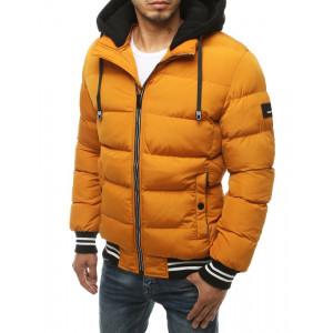Pánska moderná žltá prešívaná zimná bunda