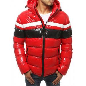 Červená pánska zimná bunda prešívaná