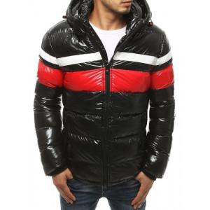 Luxusná čierna pánska prešívaná zimná bunda s kapucňou