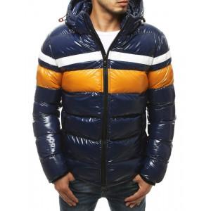 Zimná pánska prešívaná bunda v modernej tmavomodrej farbe