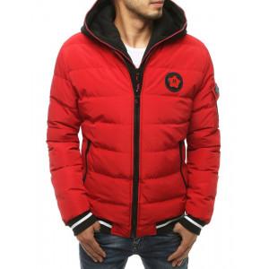 Moderná červená pánska prešívaná zimná bunda