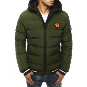Olivová zimná pánska prešívaná bunda s kapucňou