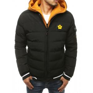 Čierna pánska zimná prešívaná bunda s kapucňou