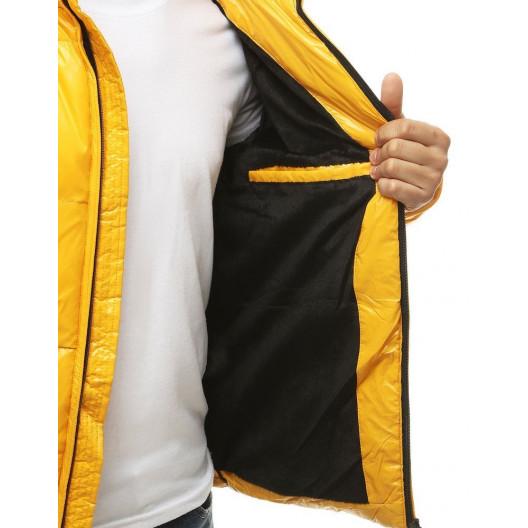 Žltá pánska zimná prešívaná bunda