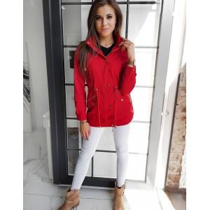 Červená dámska prechodná bunda parka s kapucňou