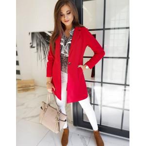Štýlový dámsky červený kabát módneho strihu