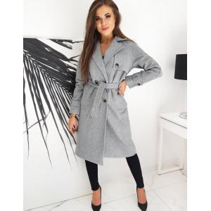Módny dámsky sivý dlhý kabát na dvojradové zapínanie
