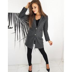 Tmavo sivý dámsky kabát nad kolená rovného strihu