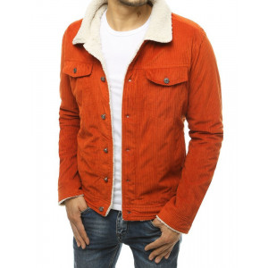 Štýlová pánska menčestrová bunda v módnej oranžovej farbe