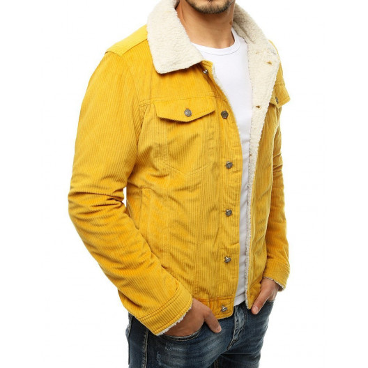 Originálna žltá pánska menčestrová bunda s kožušinou